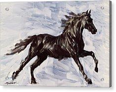 Running Horse Acrylic Print by Richard De Wolfe