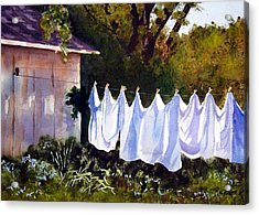 Rural Laundromat Acrylic Print by Marsha Elliott