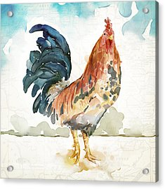 Rust Rooster Acrylic Print by Mauro DeVereaux