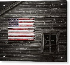 Rustic American Flag On A Weathered Grey Barn Acrylic Print by Lisa Russo