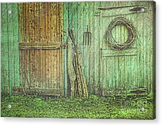 Rustic Barn Doors With Grunge Texture Acrylic Print by Sandra Cunningham