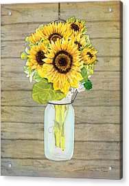 Rustic Country Sunflowers In Mason Jar Acrylic Print by Audrey Jeanne Roberts