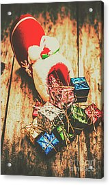 Rustic Red Xmas Stocking Acrylic Print by Jorgo Photography - Wall Art Gallery