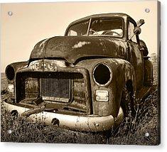 Rusty But Trusty Old Gmc Pickup Truck - Sepia Acrylic Print by Gordon Dean II