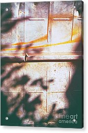 Rusty Metal Door With Shadows Acrylic Print by Silvia Ganora
