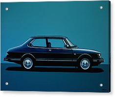 Saab 90 1985 Painting Acrylic Print by Paul Meijering