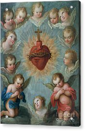 Sacred Heart Of Jesus Surrounded By Angels Acrylic Print by Jose de Paez