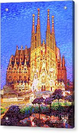 Sagrada Familia At Night Acrylic Print by Jane Small