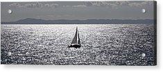 Sail Boat In A Sea Of Diamonds  Acrylic Print by John Pierpont