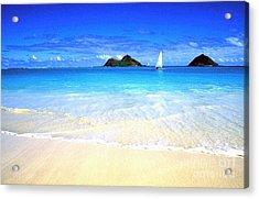 Sailboat And Islands Acrylic Print by Thomas R Fletcher