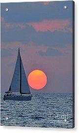 Sailboat At Sunset  Acrylic Print by Shay Levy