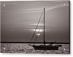 Sailboat Sunrise In B And W Acrylic Print by Steve Gadomski