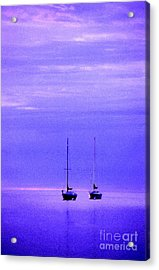 Sailboats In Blue Acrylic Print by Timothy Johnson