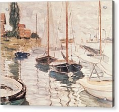 Sailboats On The Seine Acrylic Print by Claude Monet