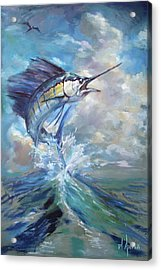 Sailfish And Frigate Acrylic Print by Tom Dauria