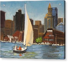 Sailing Boston Harbor Acrylic Print by Laura Lee Zanghetti