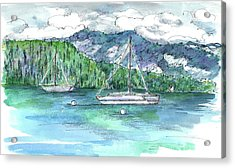 Sailing Lake Tahoe Acrylic Print by Cathie Richardson