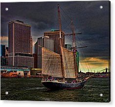 Sailing On The East River Acrylic Print by Chris Lord