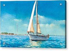 Sailing Through The Gut Acrylic Print by Laura Lee Zanghetti