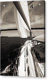 Sailing Under The Arthur Ravenel Jr. Bridge In Charleston Sc Acrylic Print by Dustin K Ryan