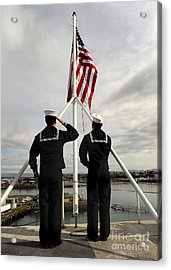 Sailors Raise The National Ensign Acrylic Print by Stocktrek Images