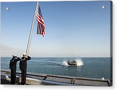 Sailors Salute The National Ensign During Morning Colors Acrylic Print by Celestial Images
