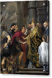Saint Ambrose Barring Theodosius I From Milan Cathedral Acrylic Print by Anthony van Dyck