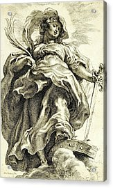 Saint Catherine In The Clouds Acrylic Print by Peter Paul Rubens