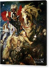 Saint George And The Dragon Acrylic Print by Peter Paul Rubens