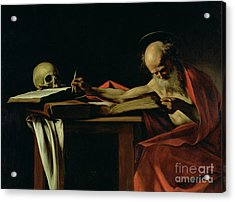 Saint Jerome Writing Acrylic Print by Caravaggio
