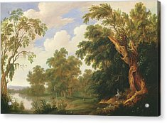 Saint Paul Visiting Saint Anthony In A Wooded Landscape Acrylic Print by Alexander Keirincx