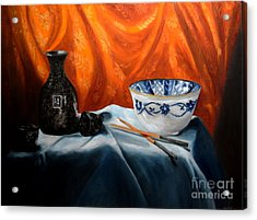 Sake And Orange Silk Acrylic Print by Mary Datum