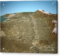 Salt Lake City 3d Aerial View Natural Color Acrylic Print by Frank Ramspott