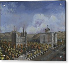 Salt Lake City Temple Square Nineteen Twelve Right Panel Acrylic Print by Jeff Brimley