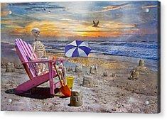 Sam's  Sandcastles Acrylic Print by Betsy Knapp