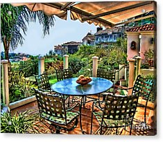 San Clemente Estate Patio Acrylic Print by Kathy Tarochione