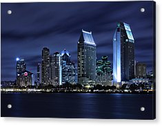 San Diego Skyline At Night Acrylic Print by Larry Marshall