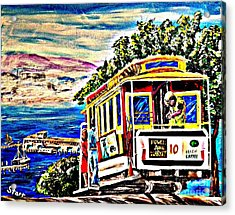 San Francisco Cable Car Art Acrylic Print by Irving Starr