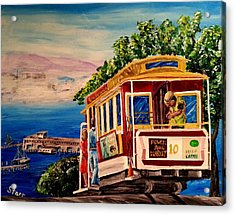 San Francisco Cable Car Acrylic Print by Irving Starr