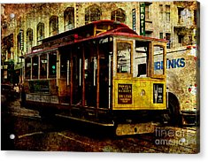 San Francisco Cable Car . Texture Acrylic Print by Wingsdomain Art and Photography