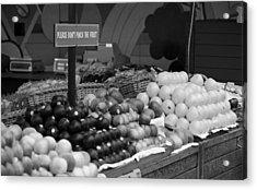 San Francisco Fruit Stand Bw Acrylic Print by Frank Romeo