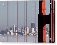 San Francisco Skyline From Golden Gate Bridge Acrylic Print by Mona T. Brooks