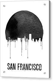 San Francisco Skyline White Acrylic Print by Naxart Studio