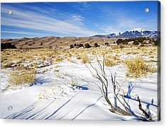 Sand And Snow Acrylic Print by Mike  Dawson