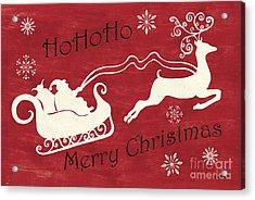 Santa And Reindeer Sleigh Acrylic Print by Debbie DeWitt