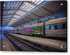 Santa Apolonia Train Station Lisbon Acrylic Print by Carol Japp