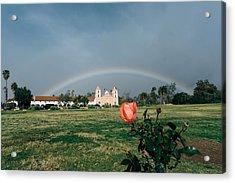 Santa Babrara Mission Rainow Acrylic Print by John Pierpont