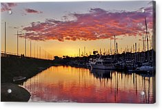 Santa Barbara Harbor Pink Acrylic Print by John Pierpont