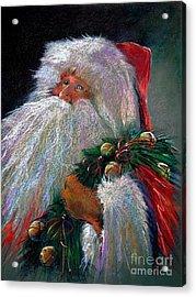 Santa Claus With Sleigh Bells And Wreath  Acrylic Print by Shelley Schoenherr