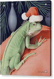 Santa Claws - Bob The Lizard Acrylic Print by Amy S Turner
